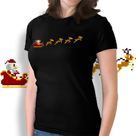 8-bit Christmas Santa and reindeer t-shirt.