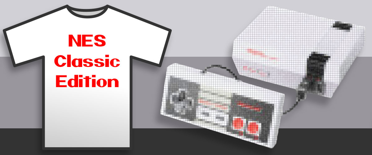 NES Classic Edition pixelated banner with Nintendo T-Shirt.