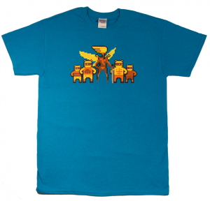 Killer Queen T-Shirt blue with yellow and orange queen and drones. Image courtesy of Alan from BumbleBear Games.